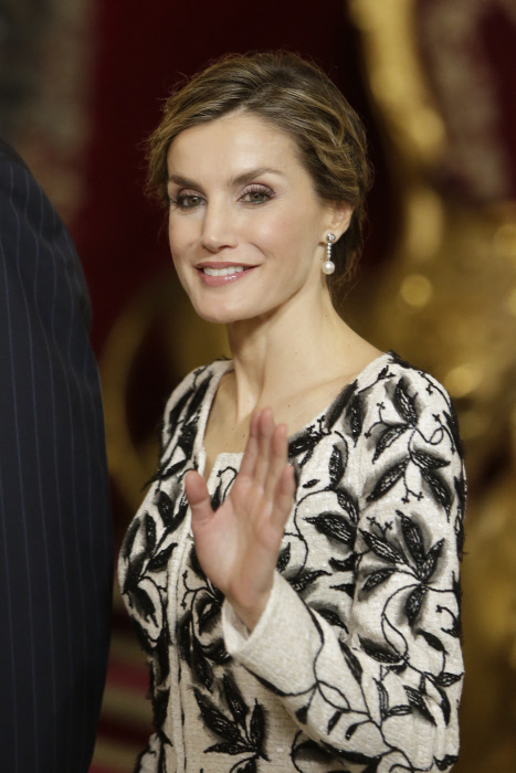 Queen Letizia attending a reception at Rñoyal Palace during the known as Dia de la Hispanidad, Spain's National Day, in Madrid, on Wednesday 12 October, 2016