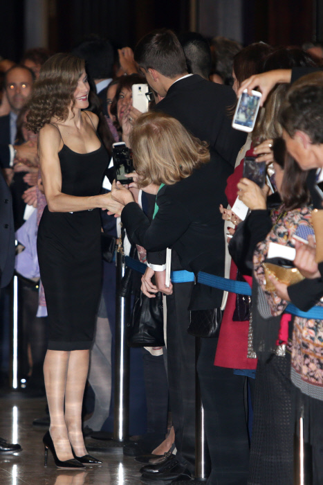 """Spanish Queen Letizia during the celebration of the 25th edition of the concert """"Princess of Asturias Awards"""" in Oviedo, on Thursday, October 20, 2016."""