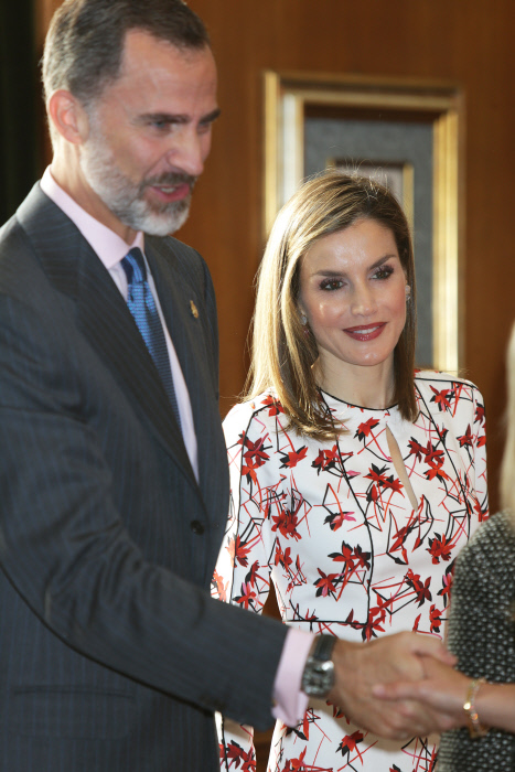 Spanish King Felipe VI and Queen Letizia during an audience with the winners of medall of Asturias in Oviedo, October 21th, 2016