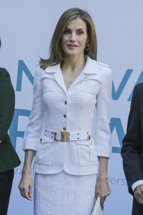 Spanish Queen Letizia during the seminar '' A new Ibero-American cooperation '' in Madrid Monday, Oct. 10, 2016.