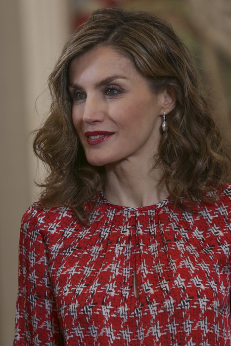 "Spanish Queen Letizia Ortiz attending royal audience with representatives of the team of the magazine ""Mia"" at the Zarzuela Palace on Friday, November 4, 2016"