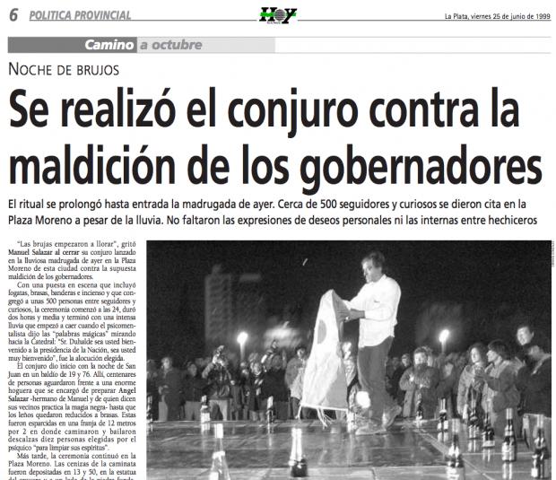 """Diario """"Hoy"""" (La Plata, viernes 26 de junio de 1999)."""