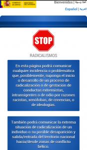 Captura de pantalla de la web Stop Radicalismos