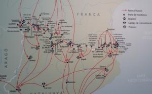 Un mapa con las principales rutas de los judíos que entraban en Cataluña / Núria Segura Insa