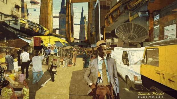 Obra de la exposición Making Africa en el CCCB / Olalekan Jeyifous & Walé Oyéjidé