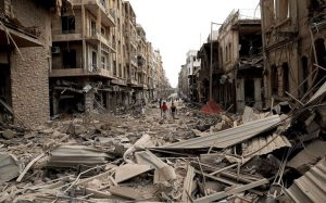 Edificios destruidos por las bombas en la ciudad siria de Alepo. (EFE)