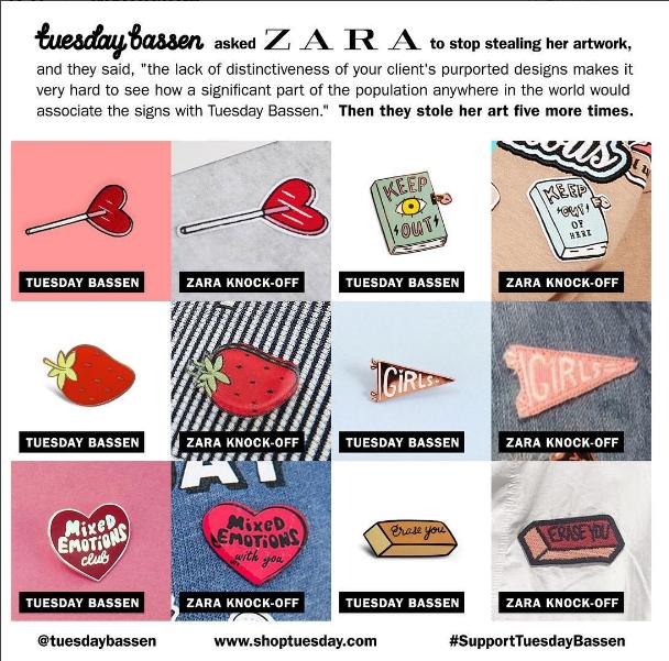 Collage de los supuestos plagios de Zara a ilustradores independientes / Instagram