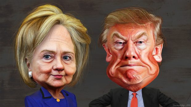 Hillary Clinton vs. Donald Trump - Caricatures/ Flickr: DonkeyHotey