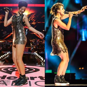 Rihanna con un vestido de Jeremy Scott.