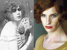 La verdadera Lili Elbe y Eddie Redmayne caraterizado de ella
