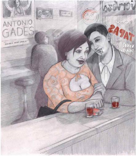 Ilustración del libro 'Por un chato de vino' / Editorial Bellaterra