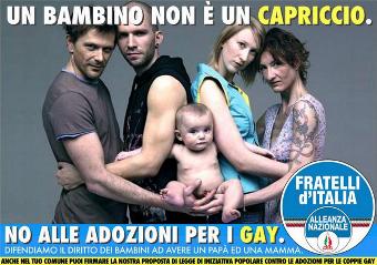 Cartel en contra de la adopción por parte de parejas del mismo sexo
