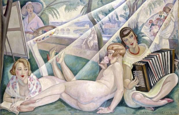 """'Un día de verano' de Gerda Wegener (1927) / Einar aparece al fondo como modelo masculino, mientras en primer plano está su propia """"versión femenina"""", es decir, Lili completamente desnuda."""