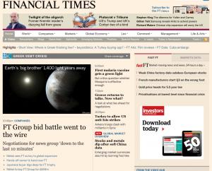 La información de la venta del Financial Times en la portada de la edición digital del periódico económico.