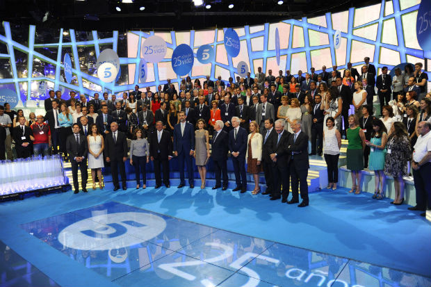 Spanish King Felipe VI and Queen Letizia, Paolo Vasile and Journalist Ana Rosa Quintana and Soraya Saenz de Santamaria during a visit to Mediaset occasion of the 25th anniversary of Telecinco emissions