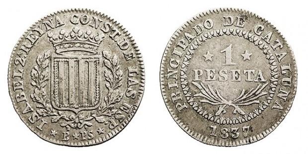 Peseta acuñada en Barcelona en 1837, durante el reinado de Isabel II (Creative commons).