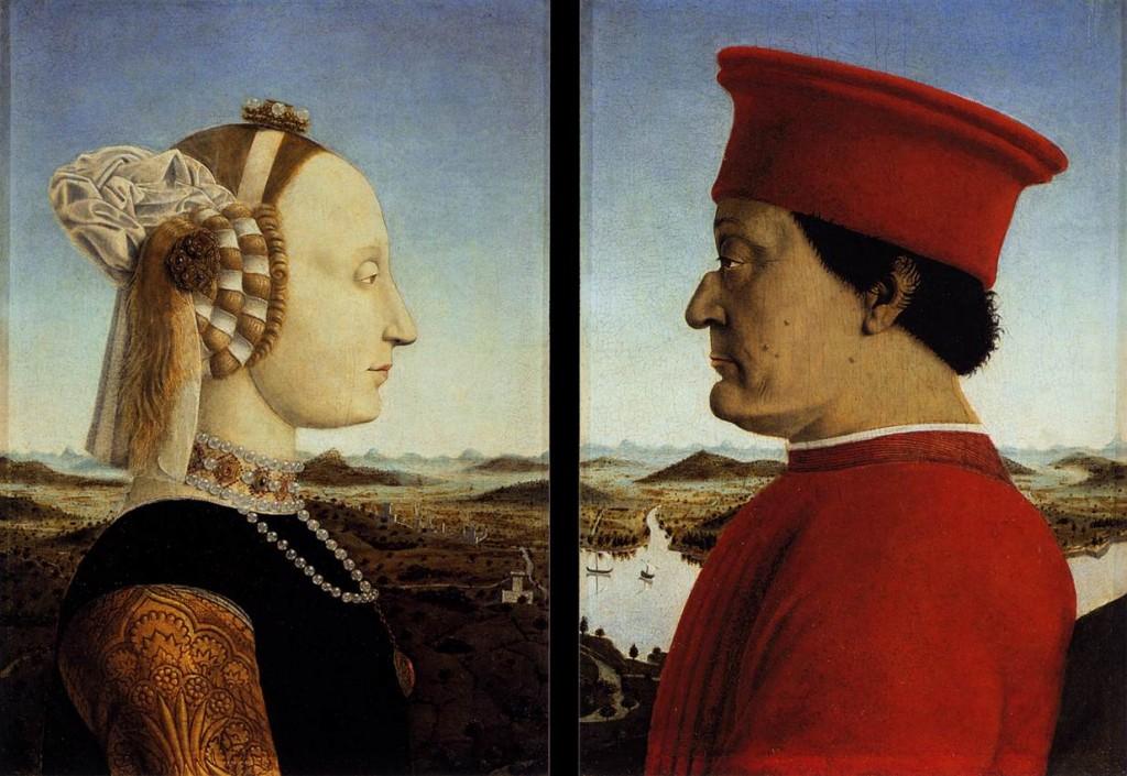 Doble retrato de Federico da Montefeltro y su esposa Battista Sforza, h. 1465-1472. (Wikimedia Commons).