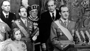 Juan Carlos I el 22 de noviembre de 1975, durante su proclamación como rey de España.