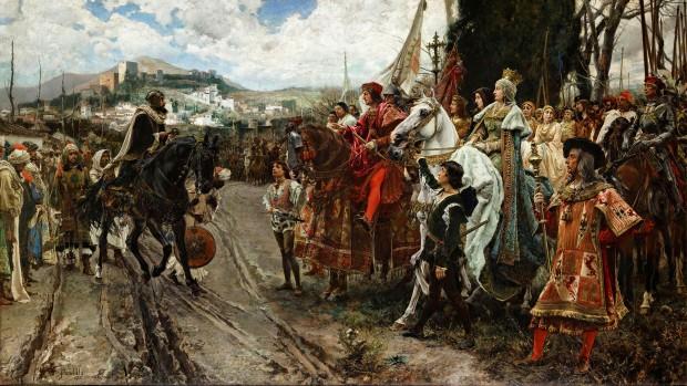 La rendición de Granada por Francisco Pradilla y Ortiz: El sultán Boabdil entrega Granada a los reyes Fernando II de Aragón e Isabel I de Castilla. (Dominio Público)