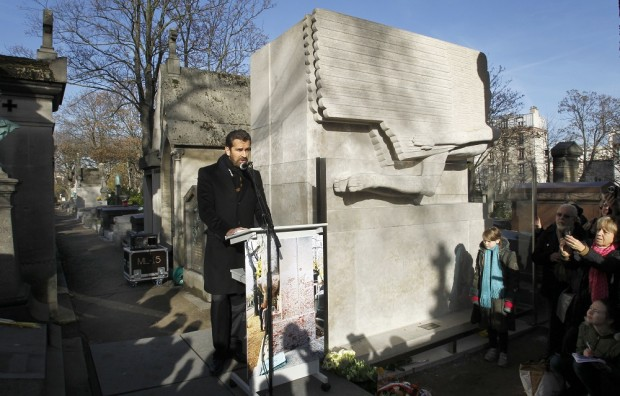Actor Rupert Everett attends the unveiling of Oscar Wilde's newly renovated tombstone which coincides with the 111th anniversary of his death, at the Pere Lachaise cemetery, in Paris, Wednesday, Nov. 30, 2011
