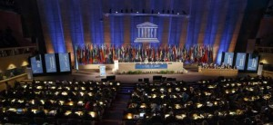 Vista de la conferencia general de la Unesco en París, Francia (GTRES).