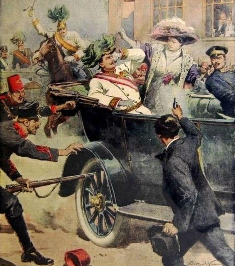 Asesinato del archiduque Francisco Fernando de Austria y Sofía Chotek.