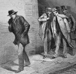 Ilustración de un sospecho que podría ser Jack el Destripador.