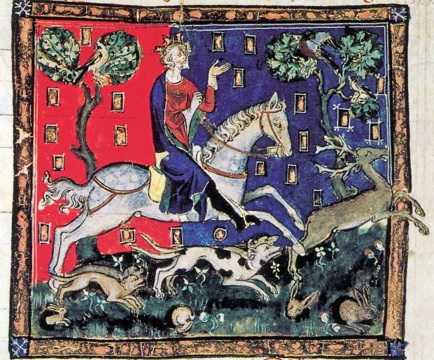Juan cazando ciervos. Manuscrito iluminado del siglo XI. (Dominio Público)