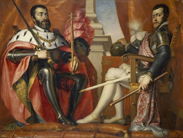 Carlos I y Felipe II, en un óleo de Antonio Arias Fernández.