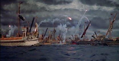 Fotograma de la batalla naval contra los piratas de la película Ben Hur