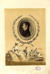 Retrato de perfil de Simón de Rojas Clemente extraído de su obra Ensayo sobre las variedades de la vid común que vegetan en Andalucía.
