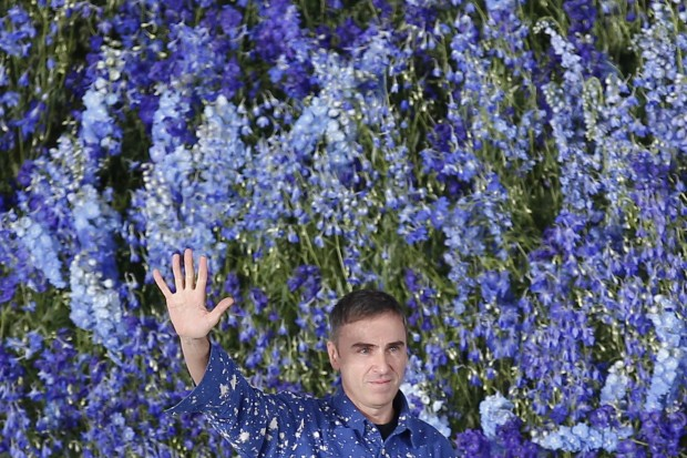 Designer Raf Simons during the Paris Fashion Week in Paris, Friday Oct. 2, 2015
