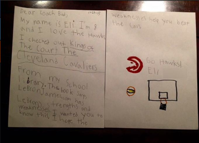 Carta de una niña hincha de los Hawks al entrenador del equipo (IMGUR).