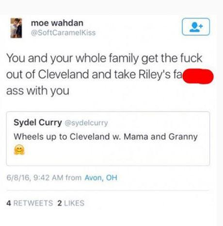 Tuit injurioso dirigido a la familia de Stephen Curry (TWITTER).