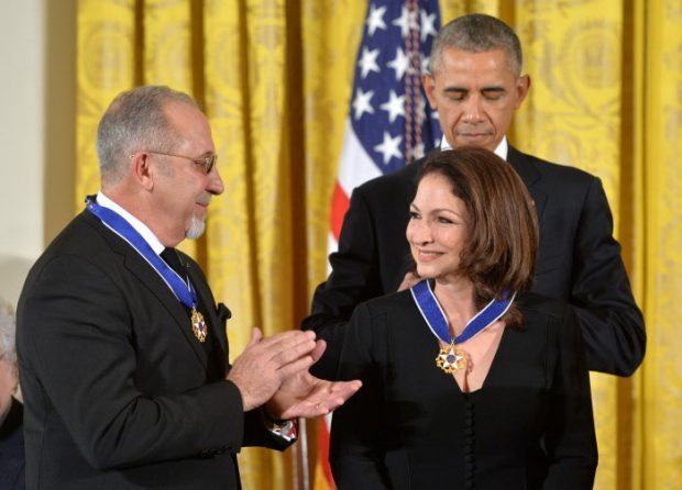President Barack Obama with producer Emilio and Gloria Estefan during a ceremony Medal of Freedom awards in Washington, D.C. November 24, 2015.