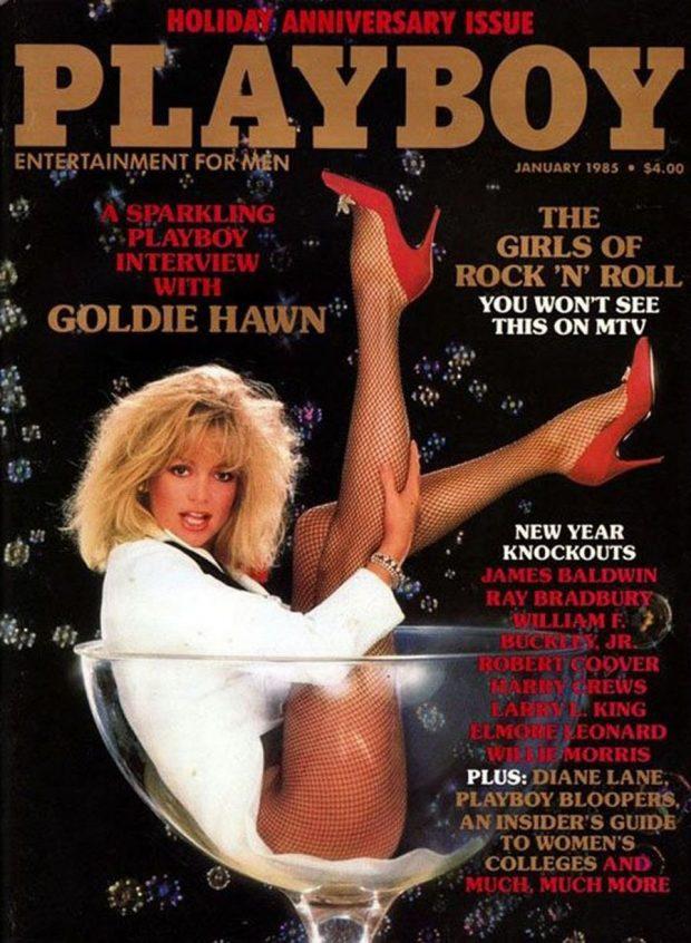 Así estrenaba el año 1985 Goldie Hawn, desde una gigantesca copa de martini en la revista Playboy
