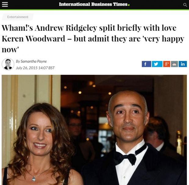Noticia sobre la ruptura efímera de Andrew Ridgeley y su mujer, excantante de Bananarama.