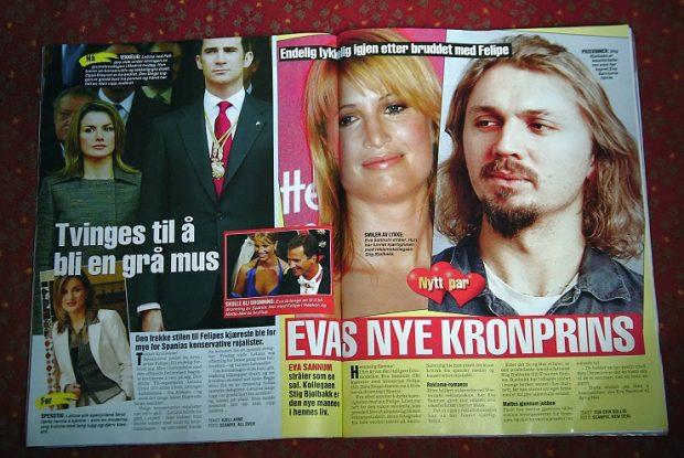 Páginas de una revista noruega en la que se detalla la relación de Eva Sannum con Stig Bjolbakk, mientras el príncipe Felipe anunciaba su copromiso con Letizia, diciembre de 2003.
