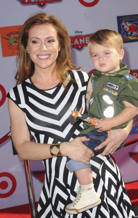 Alyssa Milano y su hijo Milo Bugliari en 2013.