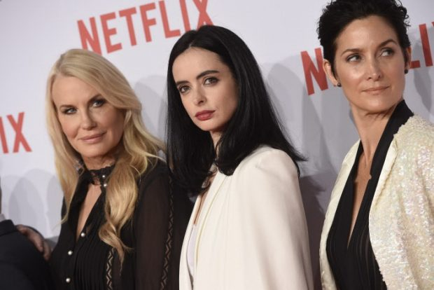 Daryl Hannah, Kristen Ritter y Carrie Ann Moss durante la presentación de Netflix en España, Madrid, 20 de octubre de 2015.