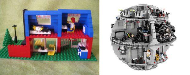 Una casita de Lego en los años 80 (izda.) y la Estrella de la Muerte de Lego Star Wars en la actualidad.
