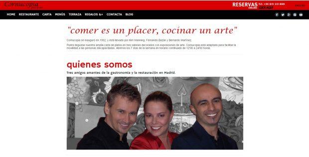Web del restaurante Cornucopia en Madrid, con sus actuales propietarios, entre ellos la conocida Kim de Un , dos, tres.