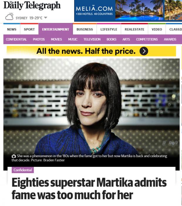 La cantante Martika en una entrevista de Daily Telegraph de julio de 2016.