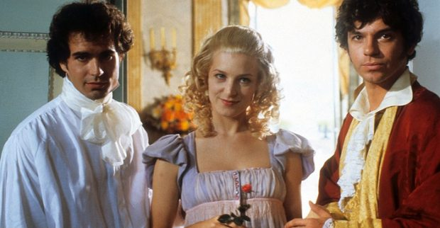 Jason Patric como Lord Byron, Bridget Fonda como Mary Shelley y Michael Hutchence en el papel de Percy Shelley en la película La resurrección de Frankenstein (1990)