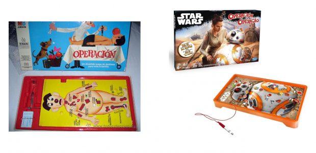 El juego 'Operación' en los años 80, y en la actualidad, versión Star Wars, el Despertar de la Fuerza.