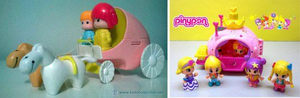 El carro de Pin y Pon en los años 80 (izda.) y la carroza en la actualidad (dcha.).