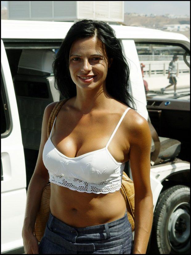 Natalia Estrada en una visita a Lanzarote, en agosto de 2003
