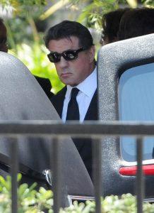 Sylvester Stallone en el funeral de su hijo Sage Stallone, el 21 de julio de 2012.