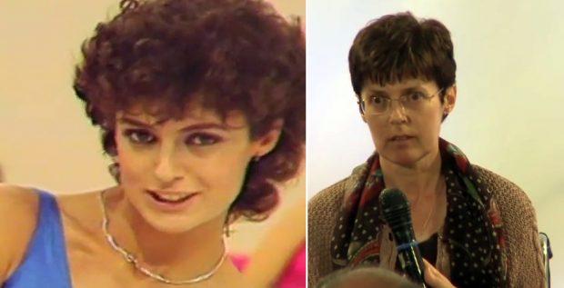 La presentadora en el programa de TVE 'Puesta a punto' (izda.) y en 2015, al recibir el Premio Ana Tutor por su defensa de los dependientes.