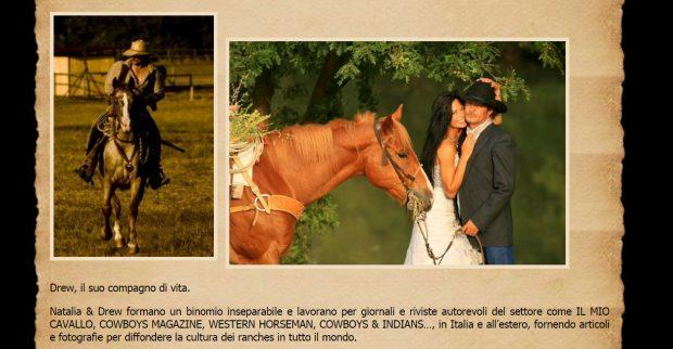 Apartado de la web Ranch-Academy, donde Natalia Estrada incluye una imagen de su boda con Andrea 'Drew' Mischianti.
